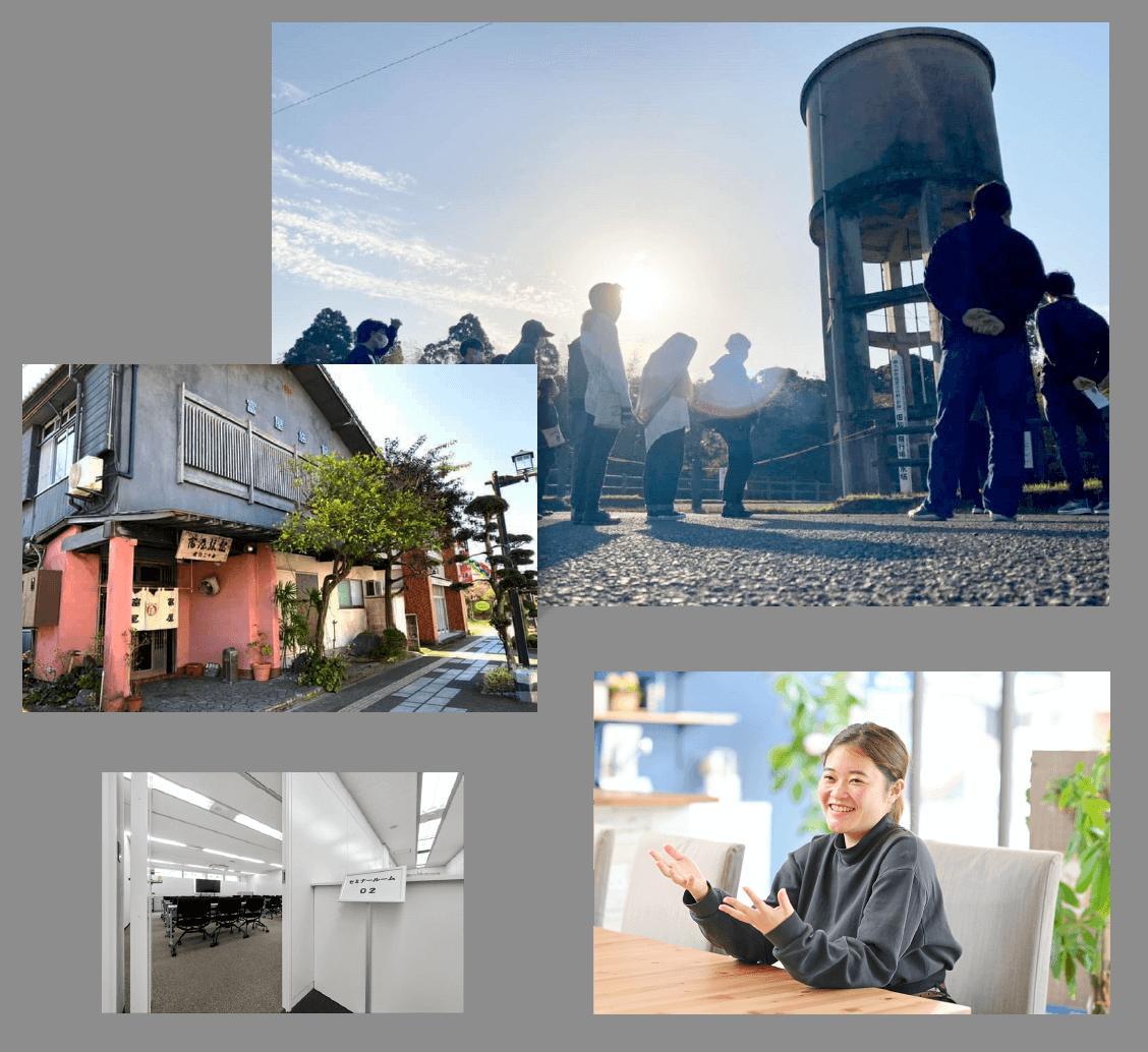 知覧研修で宿泊する鹿児島・知覧の「富屋旅館」、大勢が並んで戦前に特攻隊の基地を巡っている写真、セミナー室の入り口の写真、笑ってお話しする女性