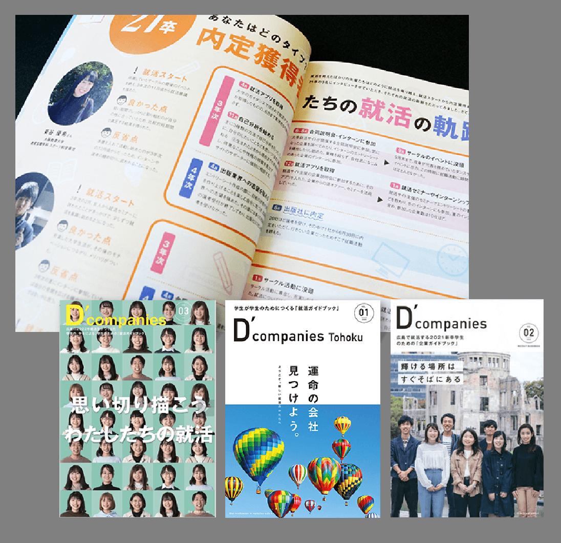 特徴的な事業を行う企業を紹介する『D'companies広島』の中身、3冊の表紙