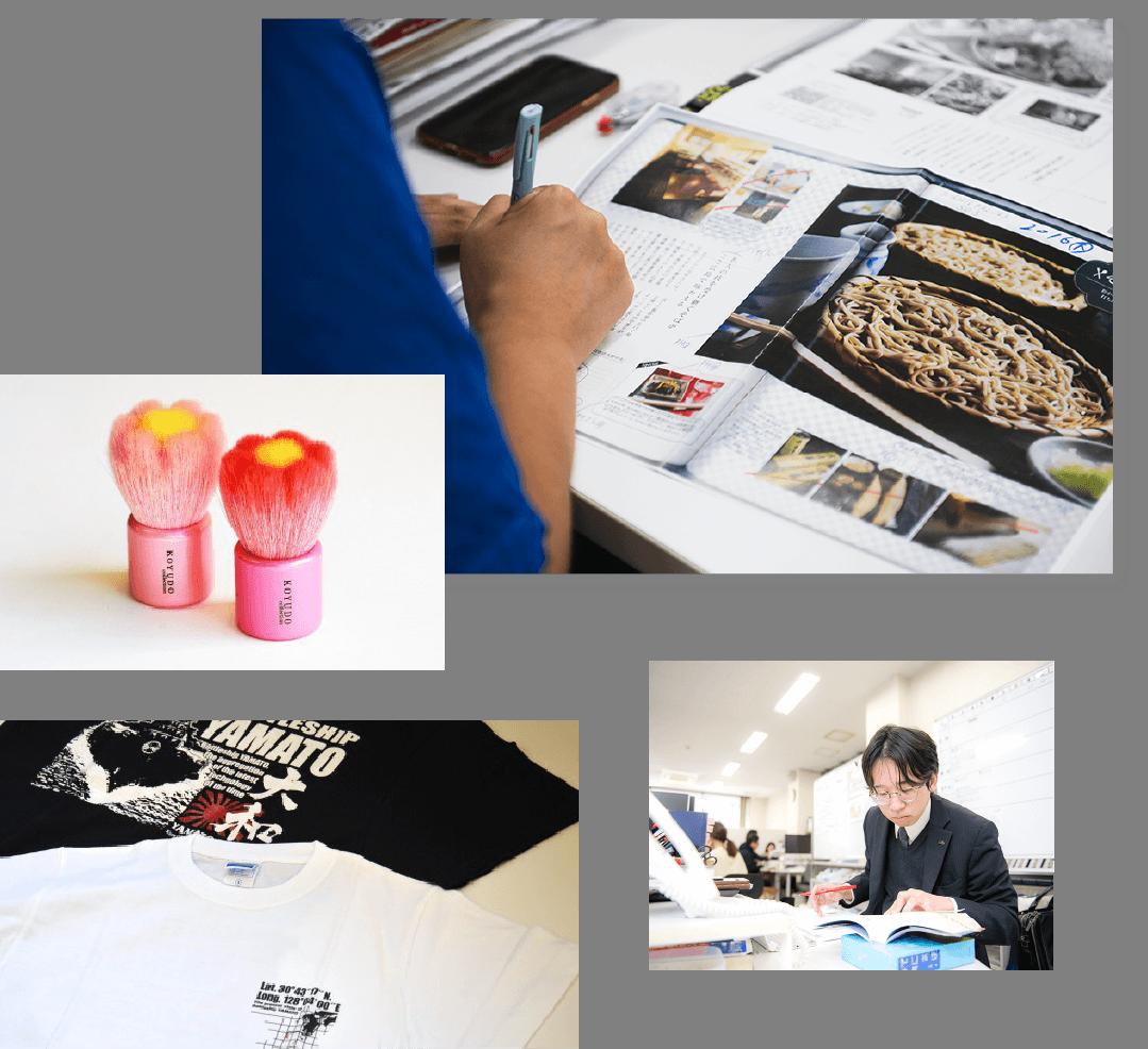 雑誌の構成をする男性の写真、赤い筆2本、白と黒のTシャツ、誤字脱字や事実確認のチェックなど社員の写真