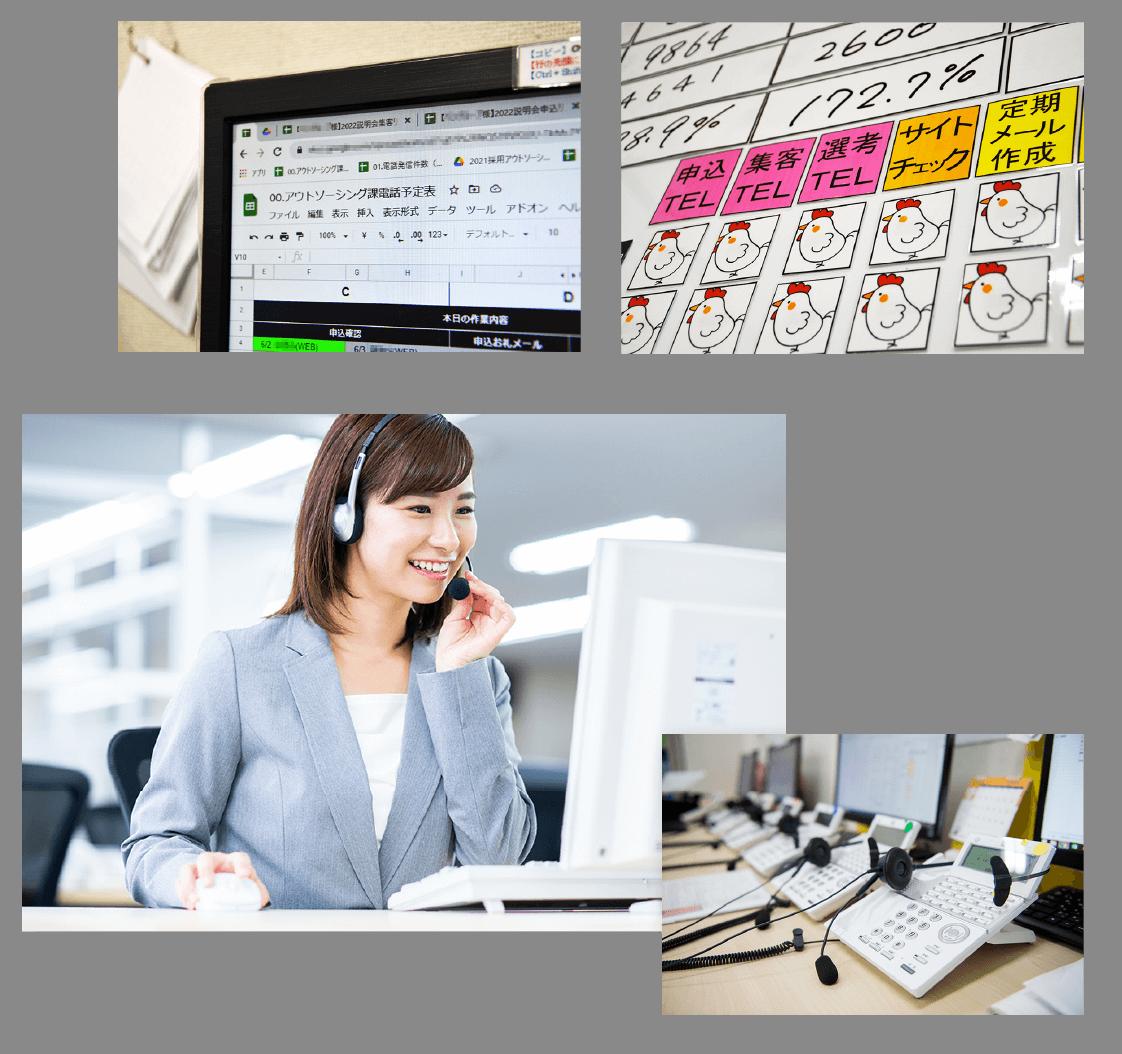 「00.アウトソーシング課電話予約表」というタイトルのエクセルファイル、電話進歩表の写真、笑顔で電話対応する女性の写真、白い電話が並んでいる写真